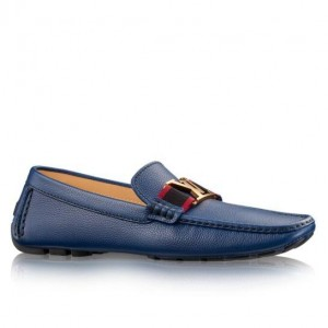Louis Vuitton Monte Carlo Mocassin In Blue Leather