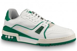Louis Vuitton LV Trainer Sneakers In White/Green Leather