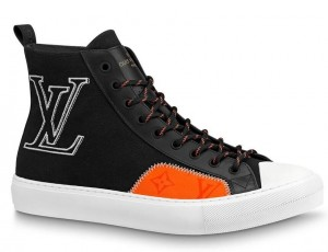 Louis Vuitton Tattoo Sneaker Boots In Black Textile