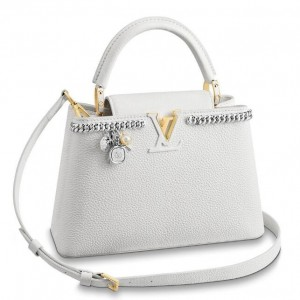 Louis Vuitton White Capucines PM Bag With Chain M53245