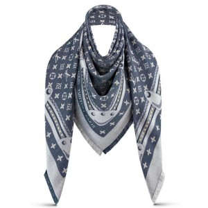 Louis Vuitton Blue Studdy Denim Monogram Shawl M73698