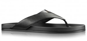 Louis Vuitton Mirabeau Thong In Black Leather