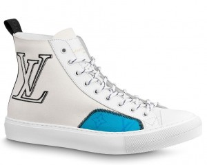 Louis Vuitton Tattoo Sneaker Boots In White Textile