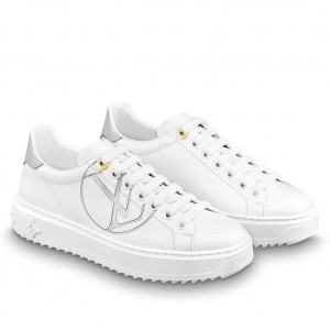 Louis Vuitton White/Silver Time Out Sneakers