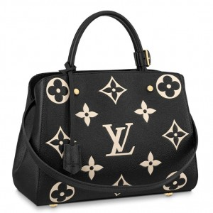 Louis Vuitton Montaigne MM Bag In Black Leather M45499