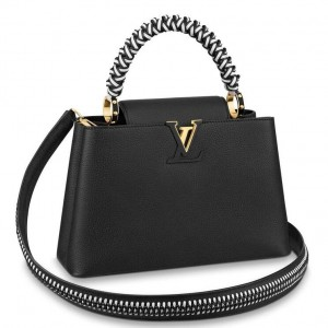 Louis Vuitton Black Capucines PM Bag With Braided Handle M55083