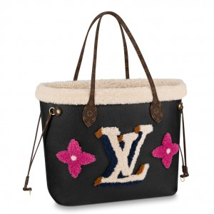 Louis Vuitton Neverfull MM Bag Leather Shearling M56960